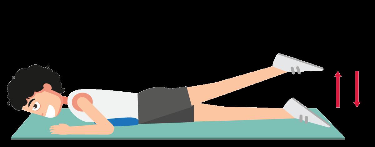 足の後ろ上げ運動の説明図