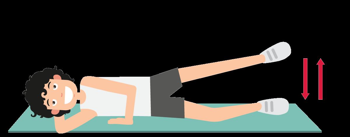 足の横上げ運動の説明図