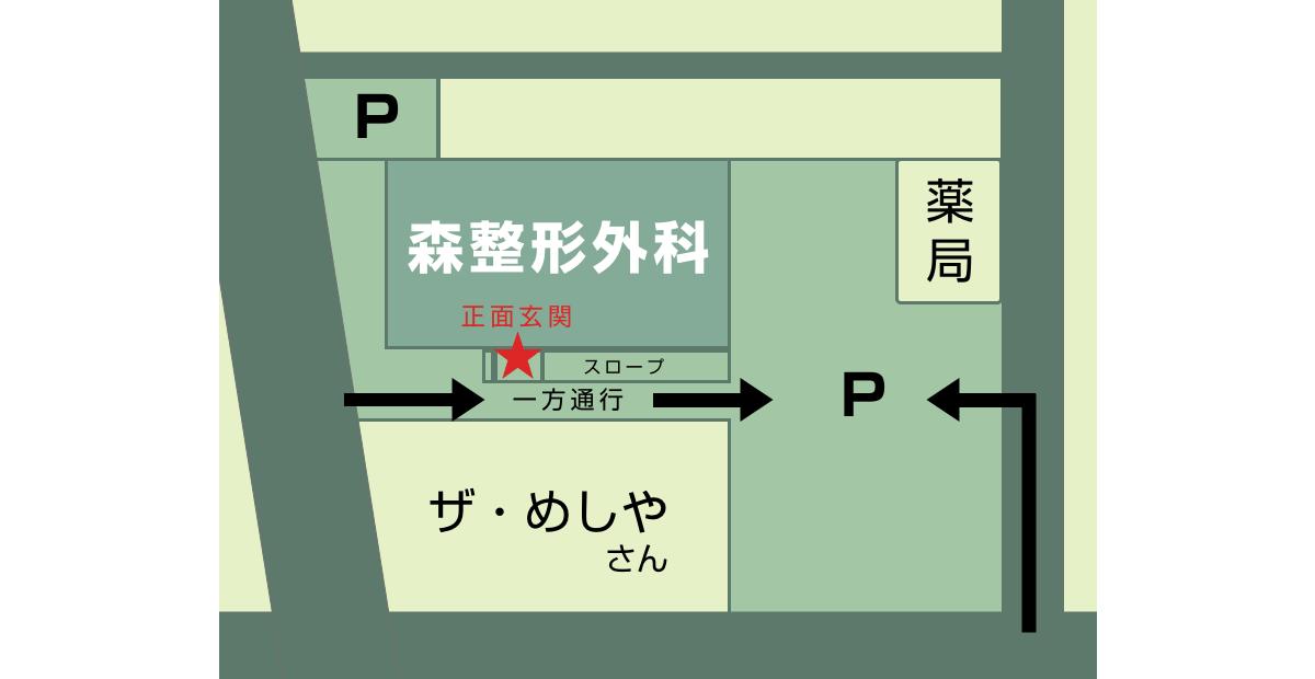 愛知県一宮市の森整形外科の駐車場見取り図
